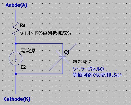 ダイオード等価回路(ソーラーパネル)